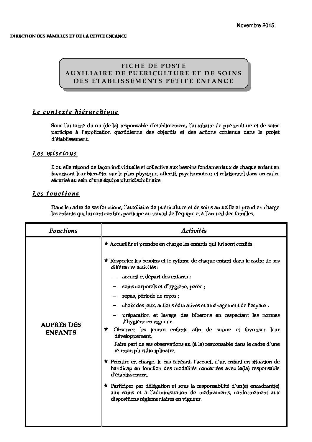 FICHE DE POSTE DES APS en EAPE - CGT Petite enfance Ville ...