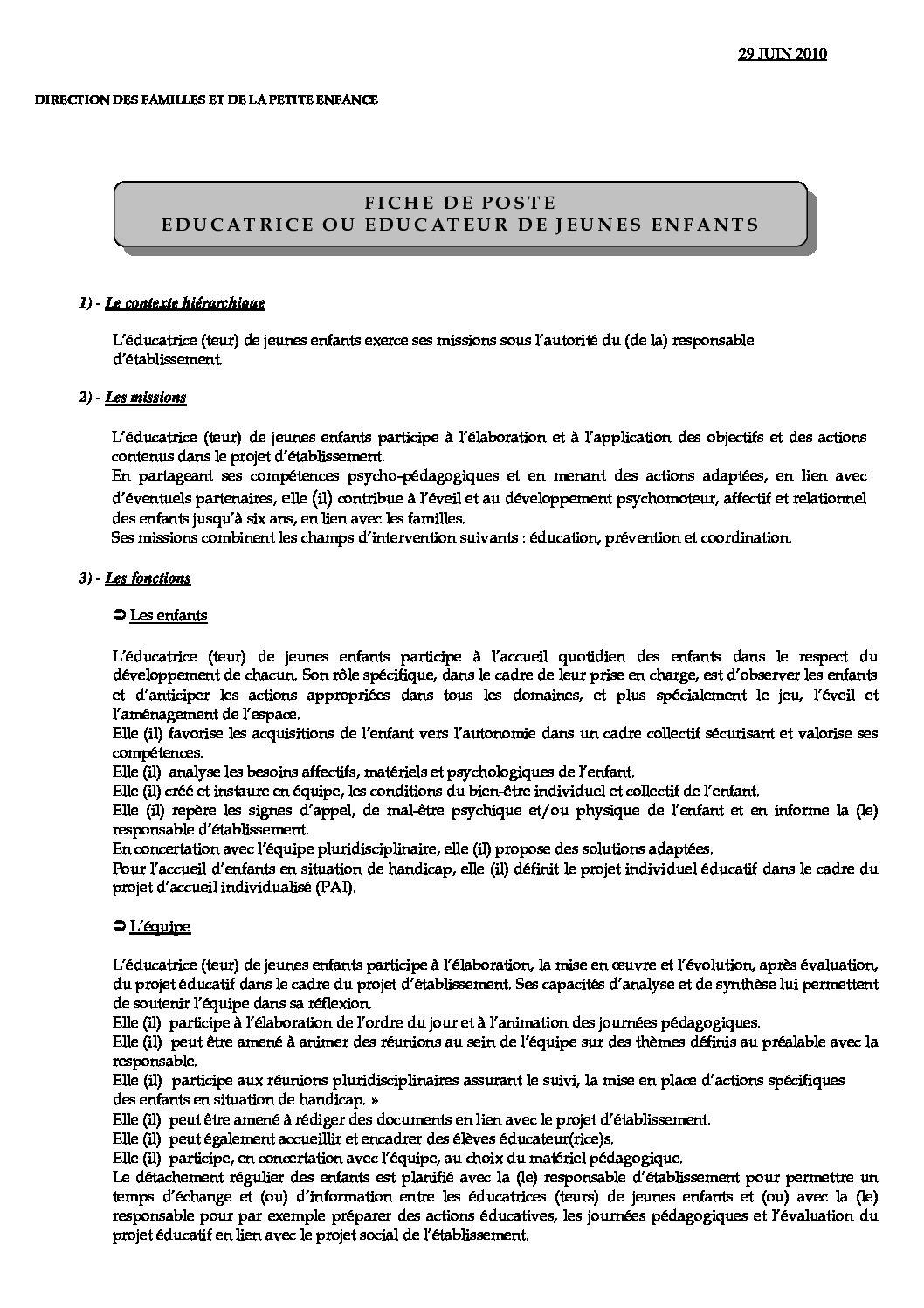 FICHES DE POSTES - CGT Petite enfance Ville de Paris